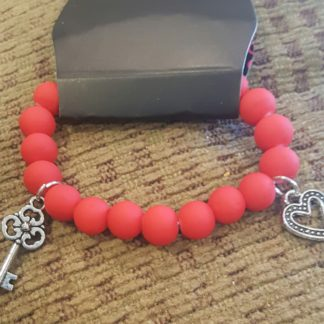Heart Key Charm Red