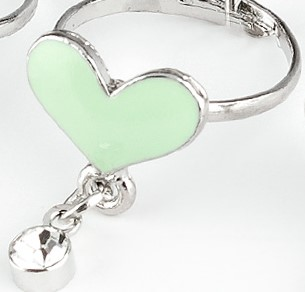 Green Bling Heart Ring