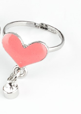 Pink Bling Heart Ring